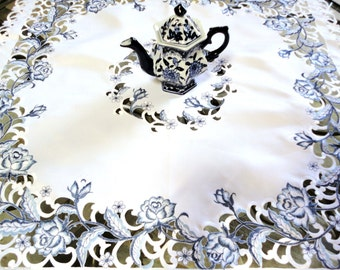 """34"""" Table Topper Dutch Delft  Embroidered  Rose Blue White Tablecloth Scarf  FREE SHIPPING"""