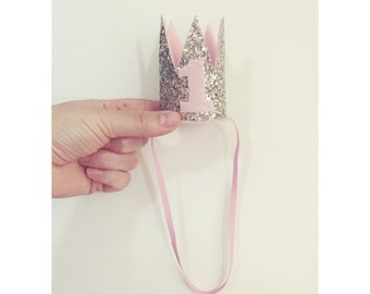 Birthday Mini Crown Silver and Pink |  Cake Smash Crown |  Crown Headband |  Birthday Crown |  Silver Birthday Crown