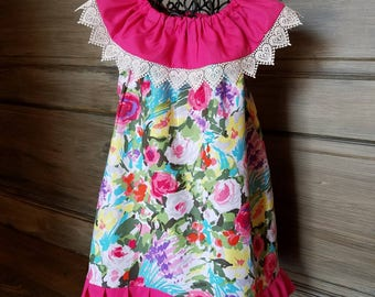 Ruffle dress with large flowers