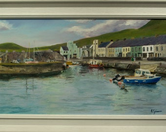 Carnlough Harbour, County Antrim, Northern Ireland. Framed oil painting on canvas. 69cm x 39.5cm