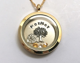MorMor Custom Floating Charm Locket - Memory Locket - Custom Hand Stamped Gift for Mom or Grandma