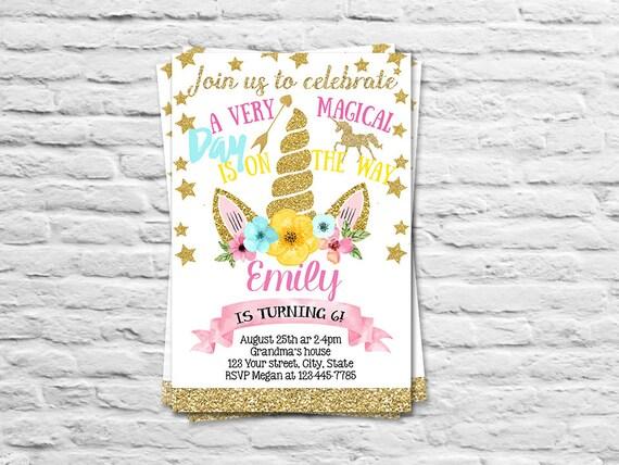 Para imprimir invitación cumpleaños unicornio para una n