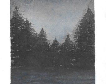 Midnight Lake - Original Watercolour painting 29.5x21cm