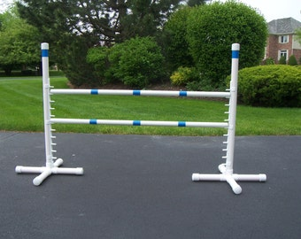 Agility Gear Free Standing Competition Jump ( One Jump with Two Striped Bars ) - Dog Agility Equipment