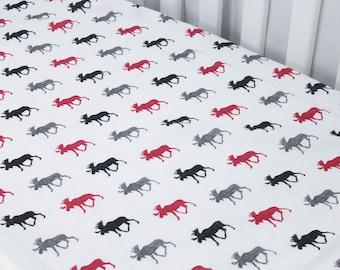 Fitted Crib Sheet - Multi Moose - Lumberjack Nursery Bedding - Black, White and red