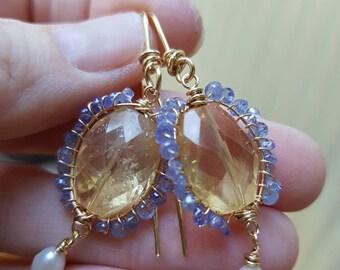Citrine and woven tanzanite bead earrings, gemsone halo earrings, faceted citrine nuggets, freshwater pearl dangles, summer earrings, resort