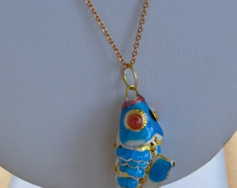 "Aqua Blue Cloisonne Koi Fish Necklace, 24"", Vintage (TB305)"