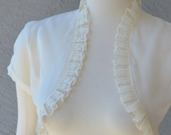 Wedding Bolero Shrug Ivory Chiffon With Lace Trim All Sizes Available Custom Made