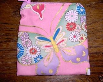 Butterfly Butterflies handmade fabric coin change purse card holder