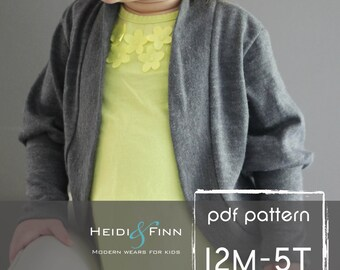 Slouchy Cardigan pattern and tutorial PDF 12m-5t easy sew sweater bolero