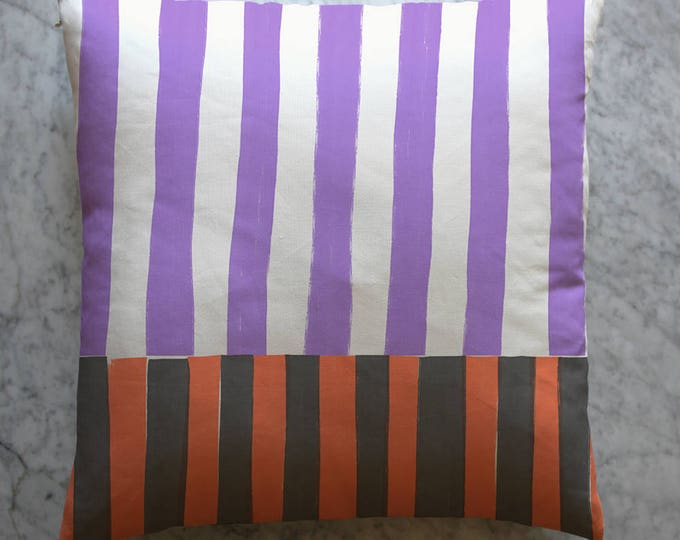 Stripe Pillow - Orange Black Purple White