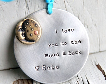 Christmas Ornament From Aunt - Moon Ornament - I love you to the Moon and Back Ornament - Christmas present for Neice - Gift From Aunt