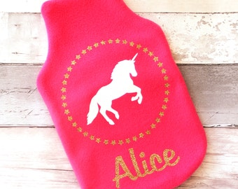 Personalised Sparkly Unicorn Hot Water Bottle Cover -personalized - unicorn - girl's bedroom - gift for girl - glitter - pink - gold
