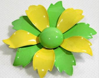 Vintage Lemon Yellow & Lime Green Enamel Flower Brooch