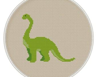 Green Dinosaur cross stitch pattern, Counted cross stitch pattern, Instant Download, Free shipping, Cross Stitch PDF, MCS087