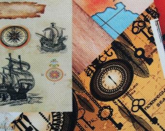 Nautical Ship Sea printed Cotton fabric piece