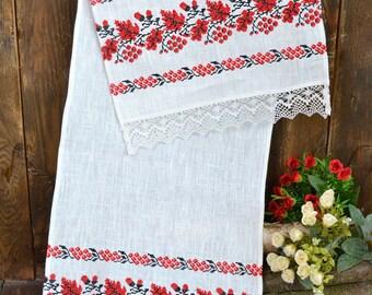 Ukrainian Traditional Embroidered Rushnyk, Ukrainian souvenir, ukrainian wedding towel, ukrainian embroidery