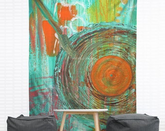 Big Band Hanging Wall Tapestry, Home Decor, Dorm, Abstract Painting, Modern Art, Turquoise, Headboard Tapestry, Aqua, Swing Music, 1940's