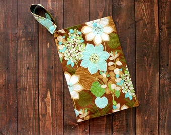 Cloth Pad Storage Bag Medium Hanging Wet Bag Brown Exotic Floral Cloth Pad Storage Cotton/Nylon Washable Reusable