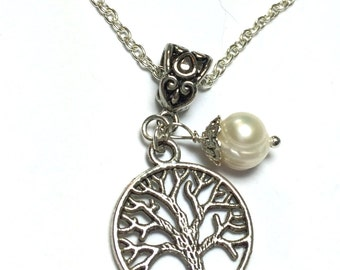 Silver Tree of Life Necklace, Pearl Necklace, Friendship, Gift for her, Tree of Life Pendent