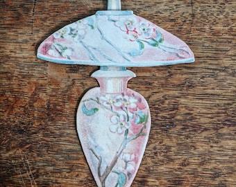 Antique 1910's Unused P.F. Volland Die Cut Figural Place Card Pink Lamp Cherry Blossom Design Paper Ephemera