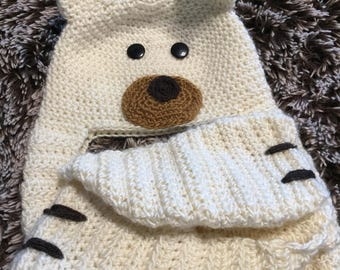 Kids Hat, Scarf and Mittens, Handmade, Crochet, Polar Bear Style