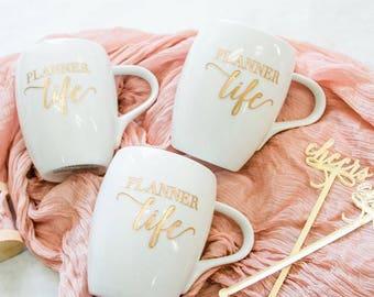 Planner Life Coffee Mug (ONE) Engraved Gold Script Dansk Fjord White Porcelain Mug, Wedding Planner Mug, Event Planner, Planner Addict
