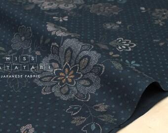 Japanese Fabric Floral Dots print - indigo blue - 50cm