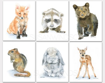 Watercolor Animal Art Prints - Set of 6 - Fox Raccoon Bear Chipmunk Rabbit Deer - Nursery Childrens Room PORTRAIT-Vertical Orientation