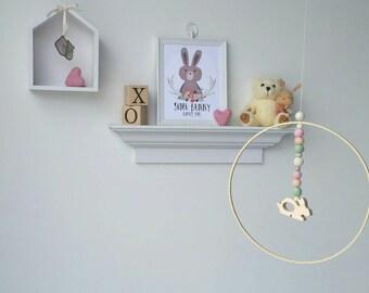 Baby Mobile : Bunny Baby Mobile with felt balls