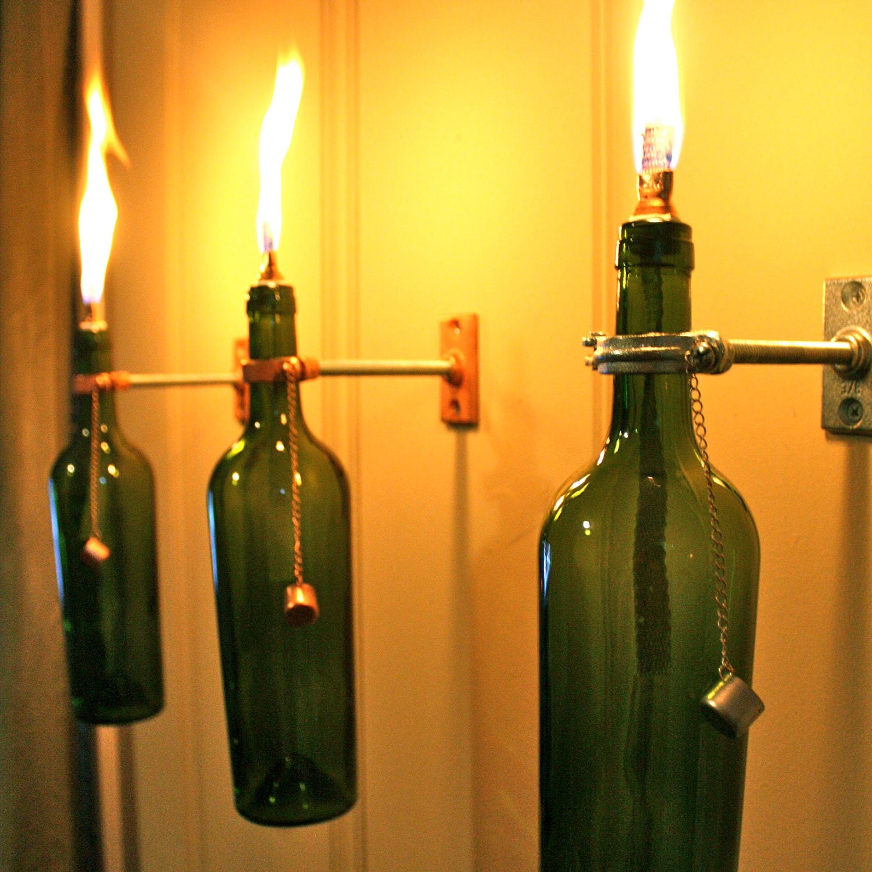 4 Wine Bottle Oil Lamps - INDOOR - Hurricane Lantern - wall