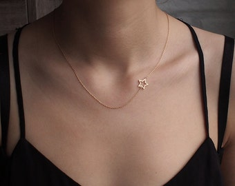 Sideway Star Necklace, Simple Star Outline Necklace, Dainty Minimal Necklace, Geometric Layering Necklace in Sterling Silver #D57