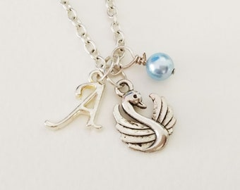 Swan  Necklace Personalized necklace Swan Jewelry Gift necklace Initial necklace