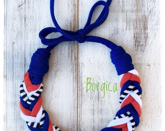 Nautical fishbone braided tshirt yarn necklace - recycled necklace, textil jewelry, eco friendly necklace, gift ideas fabric necklace
