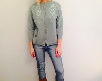 Mint Cardigan/Bohemian Cardigan/Romantic/Indie Jumper/60's Cardigan/Embroidered/Hippie Jumper/Cozy/Cottage Chic Layer/Boho Jumper/Small