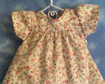 New --- 10 inch Waldorf Doll --   Pink Flower Print Dress -