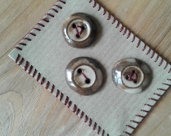 Button set / Ceramic buttons / Handmade buttons / Unique buttons / Beige buttons / Ceramic jewelry / Buttons