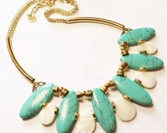 Swanky Vintage Costume Jewelry Southwestern Style Glam Bibbed Statement Necklace 70s or 80s