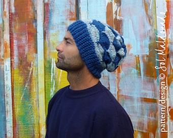 KNIT PATTERN Slouchy beanie man hat Knitting pattern - Unisex Adult Man/Woman/Teen - Knitting Hat pattern - Instant Download Knit pattern