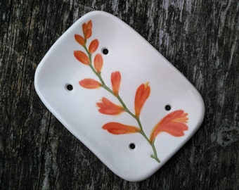 Ceramic soap dish montbretia crocosmia creamy white orange nature inspired bathroom guest room READY TO SHIP