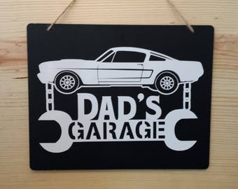 Dad's Garage Sign, Ford Mustang, Sign, Garage Sign, Chalkboard Sign, Mustang Lovers Gift, Gift for Dad, Gift for Grandpa, Fathers Day Gift