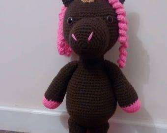 Crochet unicorn- stuffed animal - crochet amigurumi - white unicorn - brown unicorn