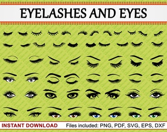 Eyelash Clipart, Eyes Clipart, Set of 27 Commercial Use Clipart, Eyelashes, Beauty, Fashion, Vector Cut Files, pdf png eps dxf svg files