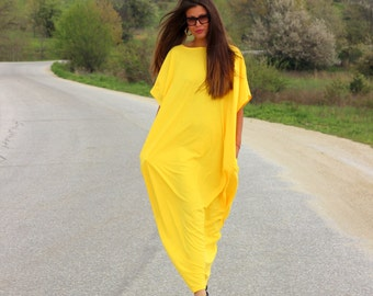 Yellow Dress/ Kaftan/ Long dress/ Caftan/ Plus size dress/ Plus size clothing/ oversized dress/ Casual dress/ Party dress/ 133.145
