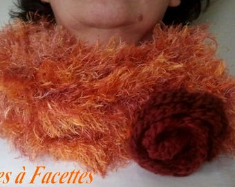 orange ombre snood with crochet flower