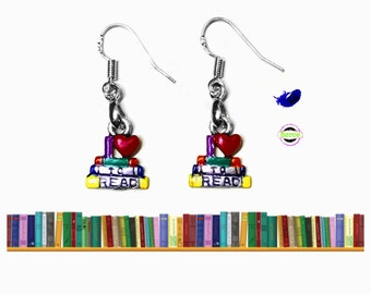 I Love to Read Earrings, 925 Silver Wires, I Love Books Gifts for Students Librarians Teachers Professors I Love Reading