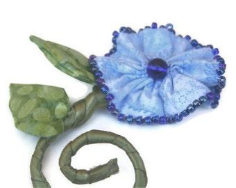 Fiber Art Pin Sculpted Fabric Flower, Blue Green Vine, Flower Brooch, One of a Kind Jewelry, Blue Flower Pin