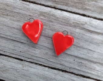Red Heart Ceramic Charm Earring Set