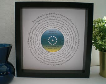 "The Beach Boys 'God Only Knows' 7"" Single Song Lyric Frame for Our Song, Wedding, Anniversary, Love, Valentine, Vinyl Record Art, Gift"