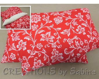 Corn Heating Pack Pillow Washable Cover Heat Bag Therapy Flannel Cotton Red White Floral Design Flowers Mothers Day Gift READY TO SHIP (540)